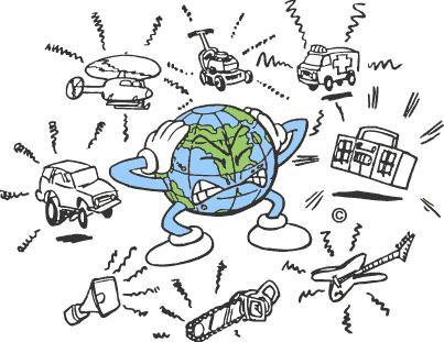 Ilustracija planeta Zemlje kojoj smeta buka (foto: Chinaenvironmentallaw.com)