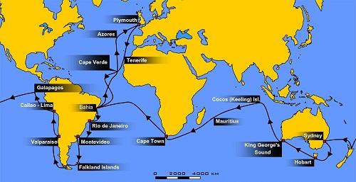 Darwinov put oko svijeta na brodu H.M.S. Beagle (1831 – 1836. godine), Izvor: Wikimedia Commons