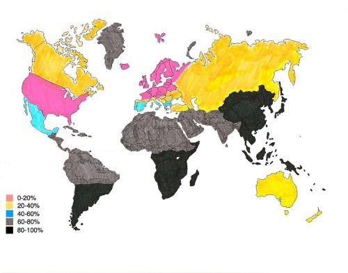Učestalost intolerancije laktoze u različitim dijelovima svijeta (Izvor: Wikimedia Commons)